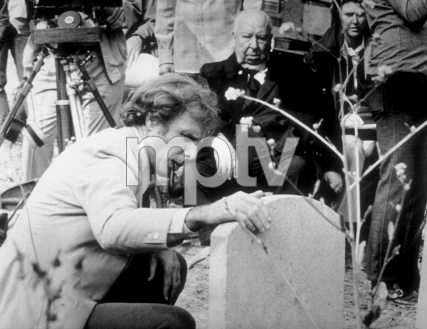 """""""Family Plot,""""Director Alfred Hitchcock on the set with Bruce Dern, 1976. - Image 8897_0012"""