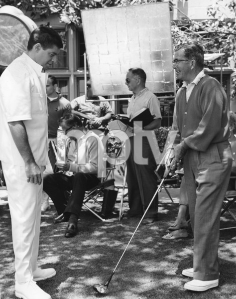 """""""The Disorderly Orderly""""Jerry Lewis and Wallace Kelley, director of photography, off camera 1964 Paramount**I.V. - Image 9001_0010"""