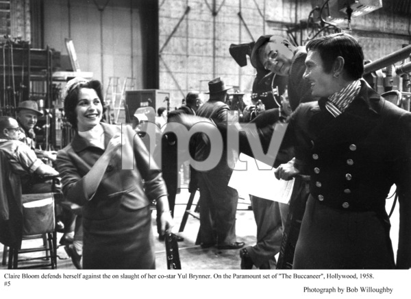 """""""The Buccaneer"""" Yul Brynner and Claire Bloom behind the scenes, 1958 Paramount © 1978 Bob Willoughby - Image 9011_0005"""
