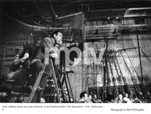 """""""The Buccaneer"""" Director Anthony Quinnbehind the scenes, 1958 Paramount © 1978 Bob Willoughby - Image 9011_0008"""