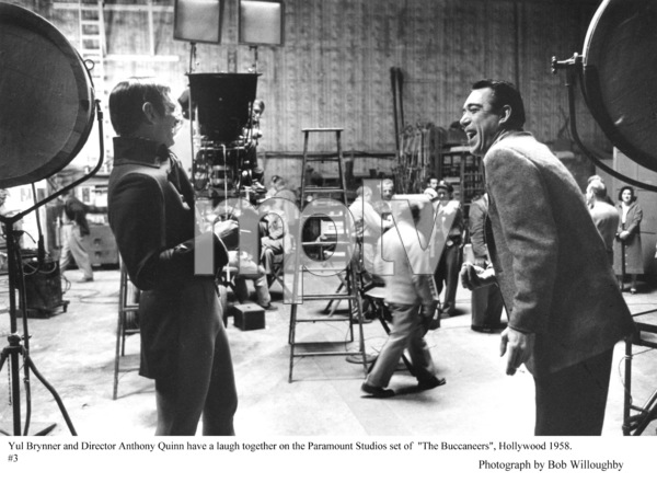 """""""The Buccaneer"""" Yul Brynner and Director Anthony Quinnon the set, 1958 Paramount © 1978 Bob Willoughby - Image 9011_0011"""
