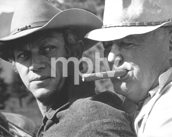 """""""Nevada Smith""""Steve McQueen with Director Henry Hathawayon the set, 1965 © 1978 Chester Maydole - Image 9149_0005"""