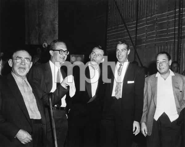 """The Joker Is Wild""Frank Sinatra with Joe E. Lewis, Swifty Morgan, Samuel J. Briskin (producer) and Joe DiMaggio on the set1957 Paramount Pictures - Image 9191_0002"