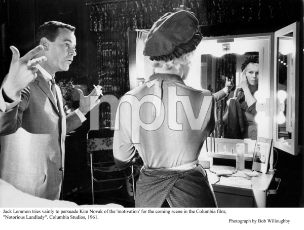 """Notorious Landlady""Jack Lemmon and Kim Novak in the dressing room. 1962 Columbia © 1978 Bob Willoughby - Image 9459_0044"
