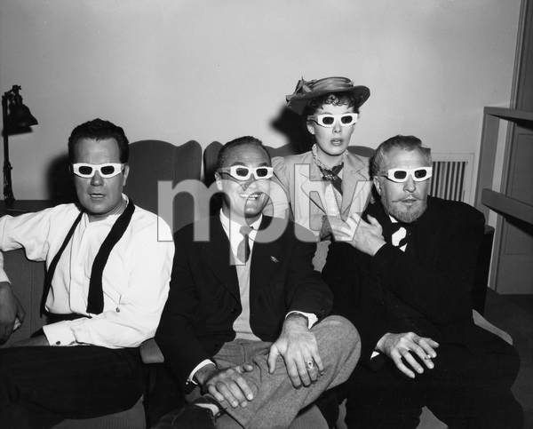 Frank Lovejoy, Director Andre De Toth, Vincent Price, and Phyllis Kirk wearing their 3-D glasses, HOUSE OF WAX, WB, 1953, I.V. - Image 9469_0024