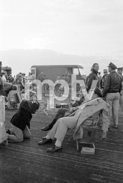 """""""Catch 22"""" Candice Bergen, Peter Bogdanovich and Orson Welles in Guaymas, Mexico 1969 © 1978 Bob Willoughby - Image 9488_0041"""